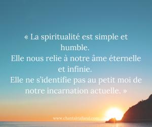Post FB Juillet 2019 La spiritualité